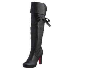 Sophia collection Roughhouse knee high boots with ribbon belt black